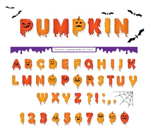 Halloween pumpkinフォント Premiumベクター