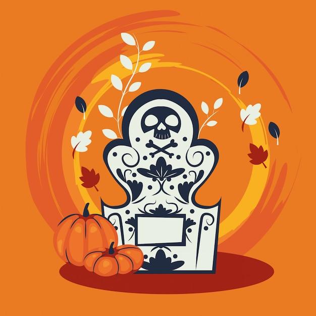 Halloween pumpkins in cemetery scene Free Vector