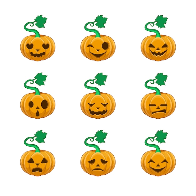 Halloween pumpkins collection Free Vector