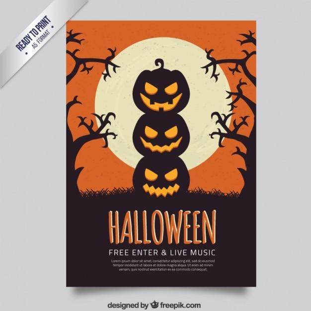 Halloween pumpkins flyer Premium Vector
