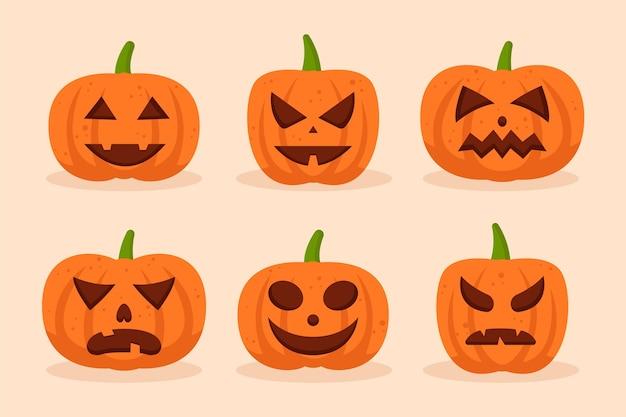 Stile disegnato a mano delle zucche di halloween Vettore gratuito