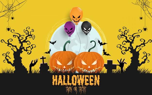 Halloween pumpkins under the moonlight background Premium Vector