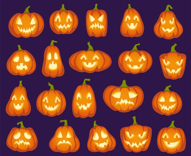 Halloween pumpkins. orange pumpkin characters. spooky, happy and sad, angry funny faces for halloween holiday. Premium Vector
