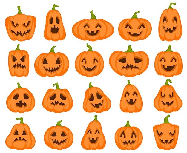 ハロウィンのカボチャ。オレンジ色のパンプキンジャックランタンのキャラクター。秋のホリデーグリーティングカードの不気味で怒っている彫刻が施された顔驚いた食べ物図面コレクションかわいい笑顔シルエットセット Premiumベクター