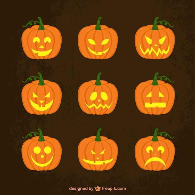 Halloween pumpkins set Vector | Free Download