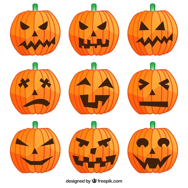 halloween pumpkins with different faces vector free download