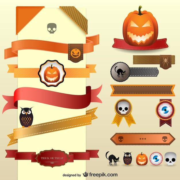 Halloween ribbons Free Vector
