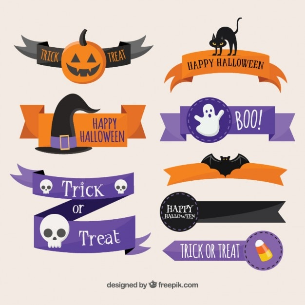 Halloween ribbons Free Vector
