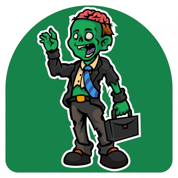 Halloween's the employee zombie man character in a torn suit with a suitcase Premium Vector