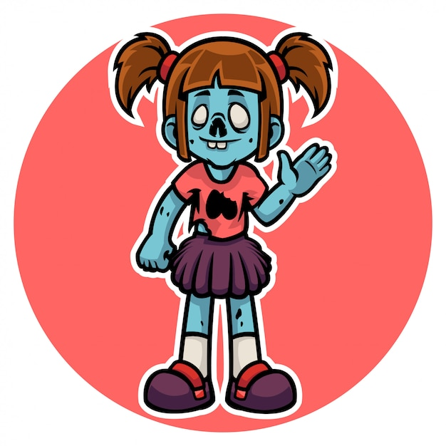 Halloween's funny zombie girl character say hello Premium Vector