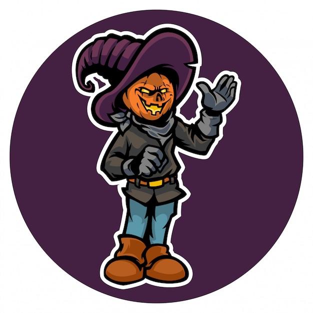 Halloween's jack o lantern with his costume Premium Vector