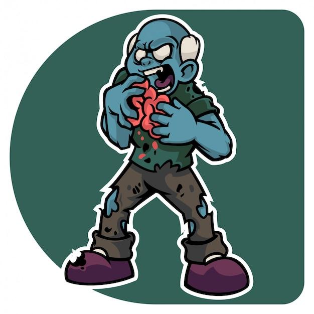 Halloween's zombie man character eating fresh human brain Premium Vector