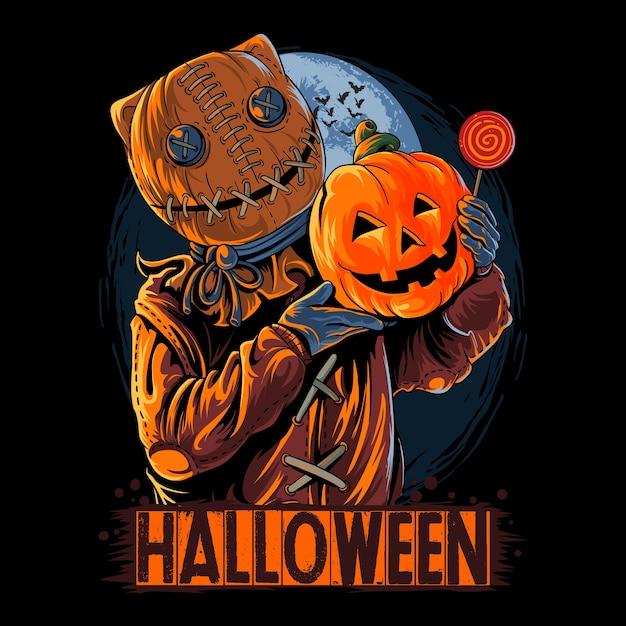 Хэллоуин мешок человек в маске несущий тыкву и конфеты Premium векторы