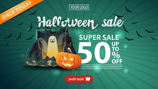 Halloween sale, -50 % off, green modern banner with portal with ghosts and pumpkin jack Premium Vector