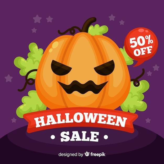 Halloween sale background flat style Free Vector