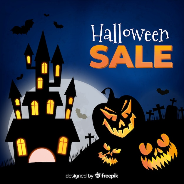 Halloween sale background realistic style Free Vector