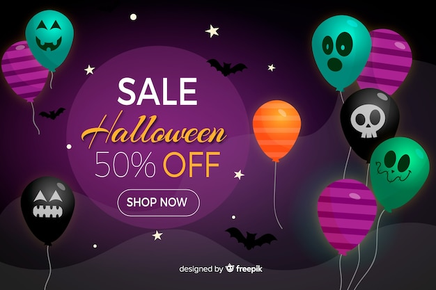 Halloween sale background with balloons in flat design Free Vector