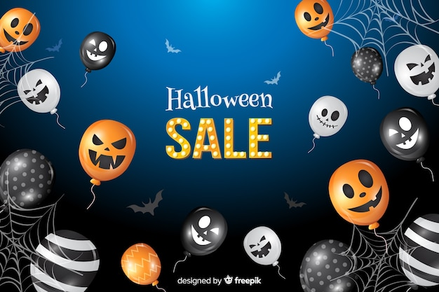 Halloween sale background with balloons Free Vector