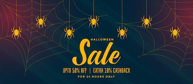 Halloween sale background with spider web Free Vector