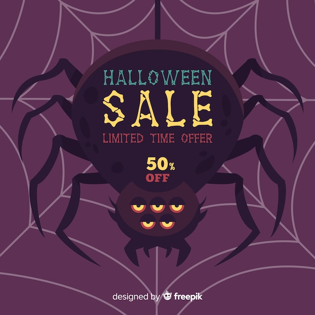 Halloween sale background with spider Free Vector