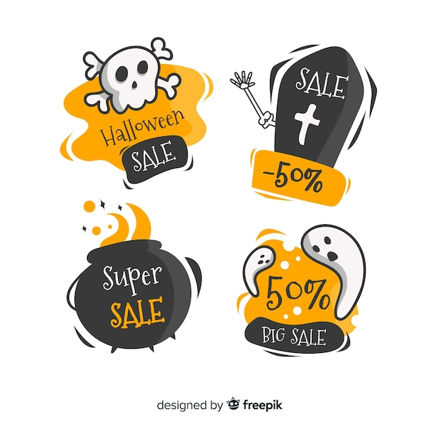 Halloween sale badges collection Free Vector