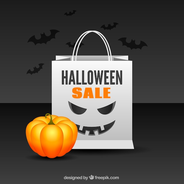 Halloween Sale Bag Background With Pumpkin
