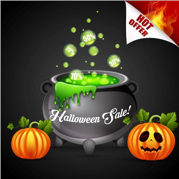 Halloween sale banner concept design Premium Vector