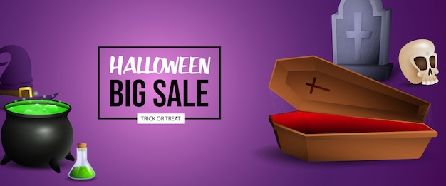 Halloween sale banner design with potion, coffin and grave Free Vector