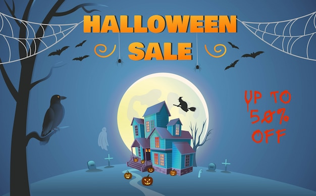 Halloween sale banner. haunted house with gate, pumpkins, a witch on a broomstick, spiders, a crow and a ghost. cartoon style vector illustration. Premium Vector
