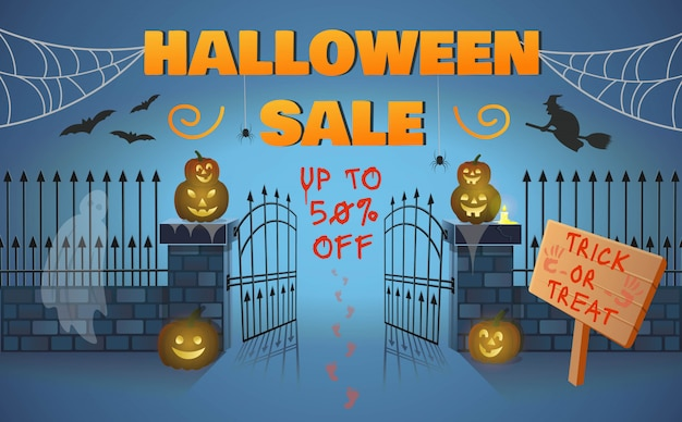Halloween sale banner with gate, pumpkins, a witch on a broomstick, spiders and a ghost. cartoon style vector illustration. Premium Vector