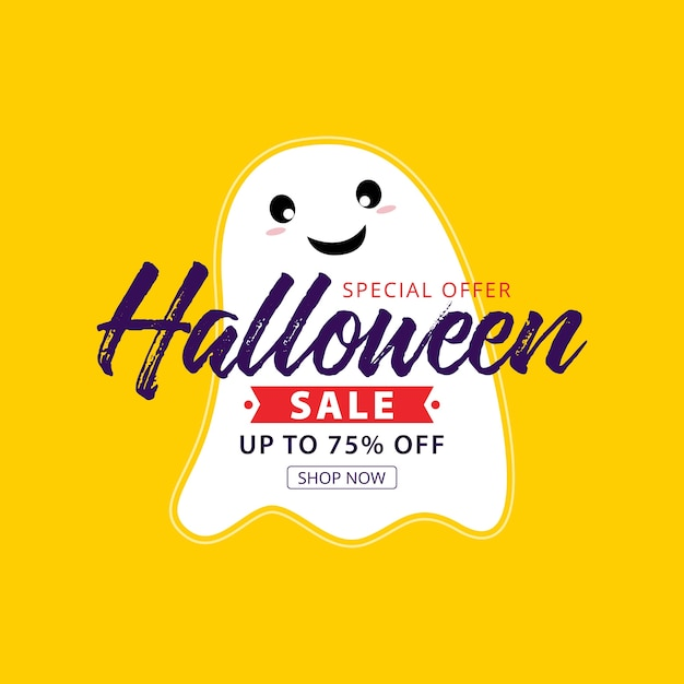 Halloween sale banner with holiday symbols pumpkin and ghost. Premium Vector