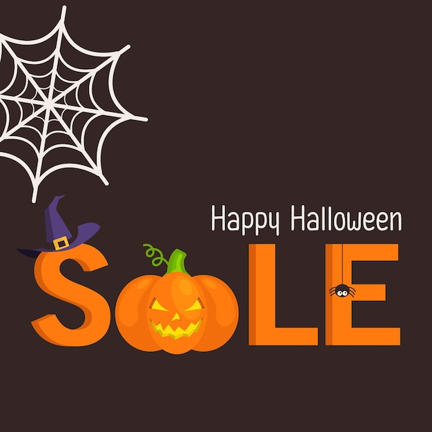Halloween sale banner with pumpkin and witch hat Premium Vector