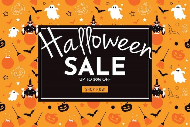Halloween sale banner with witch, pumpkin, broom, ghost, and bat. Premium Vector