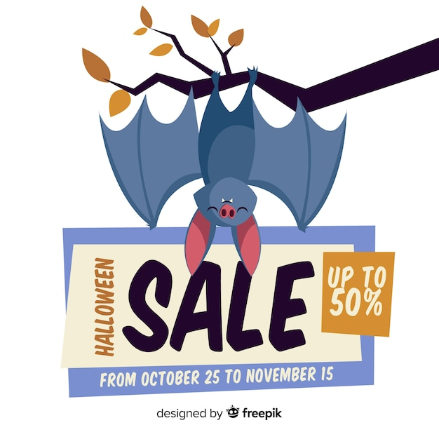 Halloween sale composition with flat design Free Vector