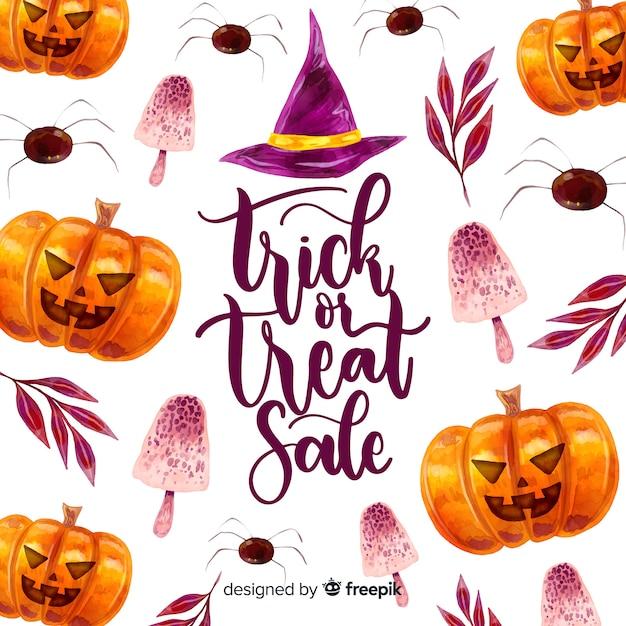 Halloween sale concept in watercolor Free Vector