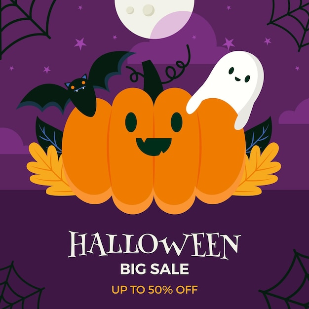 Halloween sale concept Free Vector