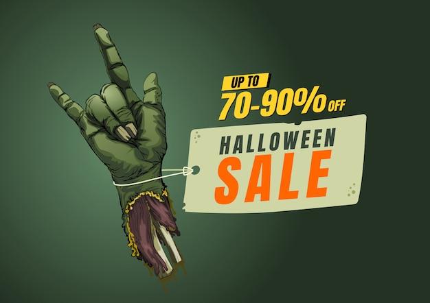 Halloween sale design template.  banner tag. vector illustration. Premium Vector