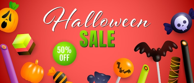 Halloween sale, fifty percent off lettering with cute sweets Free Vector