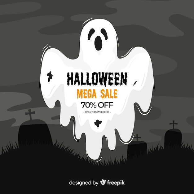 Halloween sale on flat design Free Vector