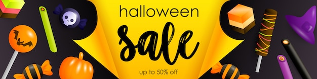Halloween sale flyer with festive sweets Free Vector