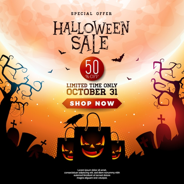 Halloween sale illustration with scary faced shopping bag Premium Vector