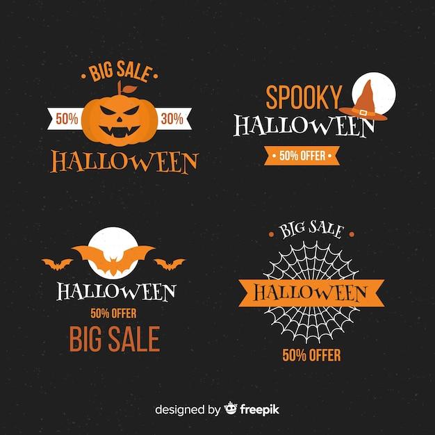 Коллекция этикеток для продажи хэллоуин Бесплатные векторы