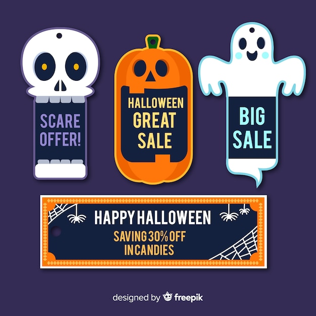 Halloween sale label collection with flat design Free Vector