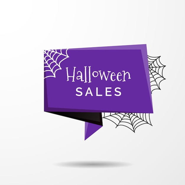 Halloween sale label in origami style Free Vector