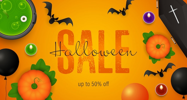 Halloween sale lettering, cauldron with potion, coffin Free Vector