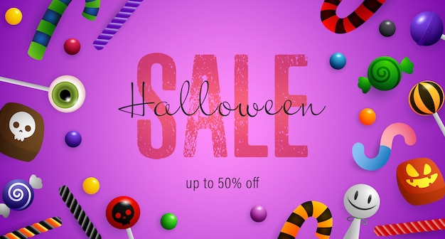 Halloween sale lettering with candy canes and lollipops Free Vector