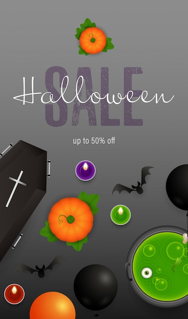 Halloween sale lettering with coffin and potion in cauldron Free Vector