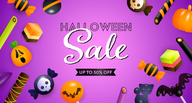 Halloween sale lettering with confectionery Free Vector