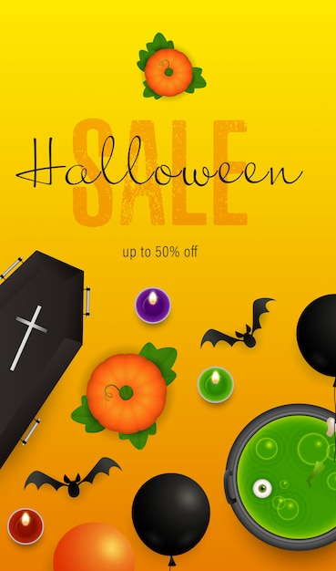 Halloween sale lettering with potion in cauldron and pumpkins Free Vector