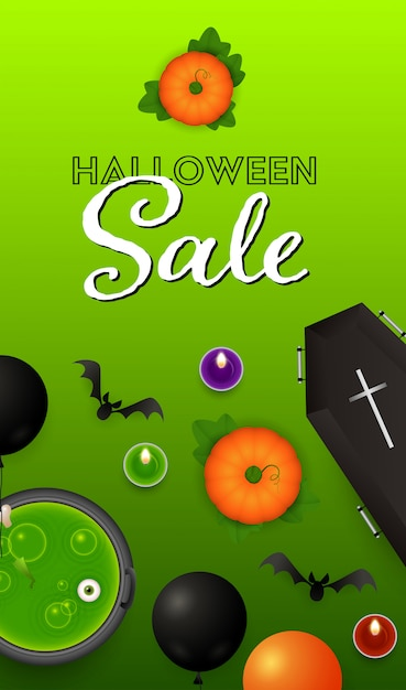 Halloween sale lettering with pumpkins, coffin and potion Free Vector